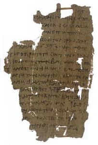 "Papyrus 18 (±220 A.D.) with ""freed"" in verse 5. Photocredit: Wikipedia"